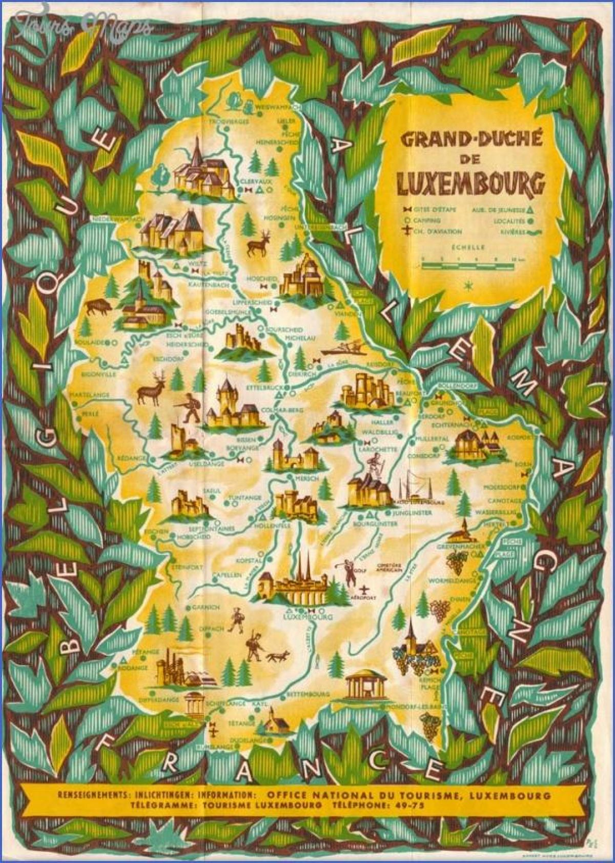 mapa ng Luxembourg sightseeing